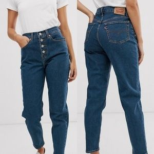 Levis | Exposed Button Mom Jean High Rise Blue